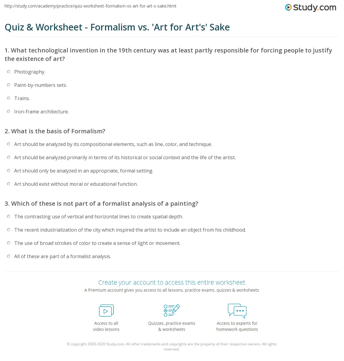 Quiz Worksheet Formalism vs Art for Arts Sake – Art Analysis Worksheet
