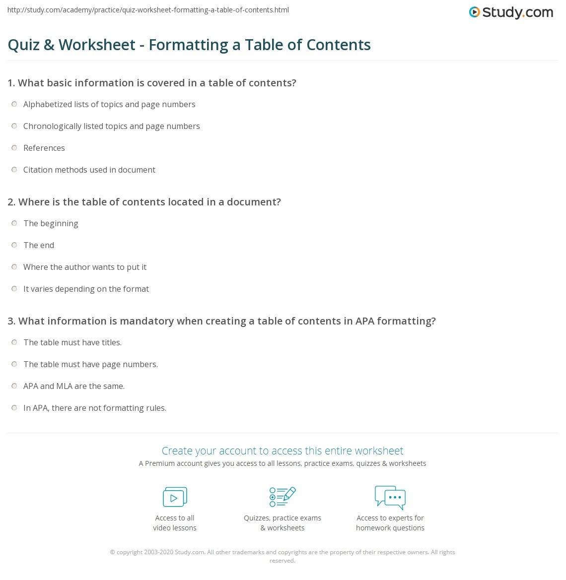 Quiz Worksheet Formatting a Table of Contents – Table of Contents Worksheet