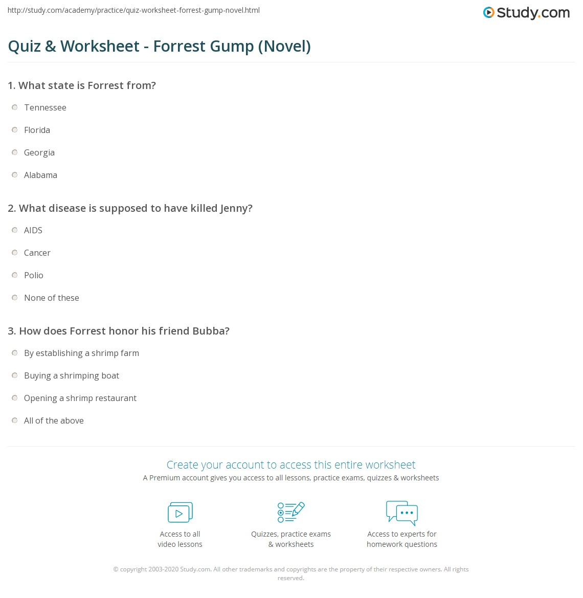 Uncategorized Forrest Gump Worksheet quiz worksheet forrest gump novel study com print book summary historical references analysis worksheet