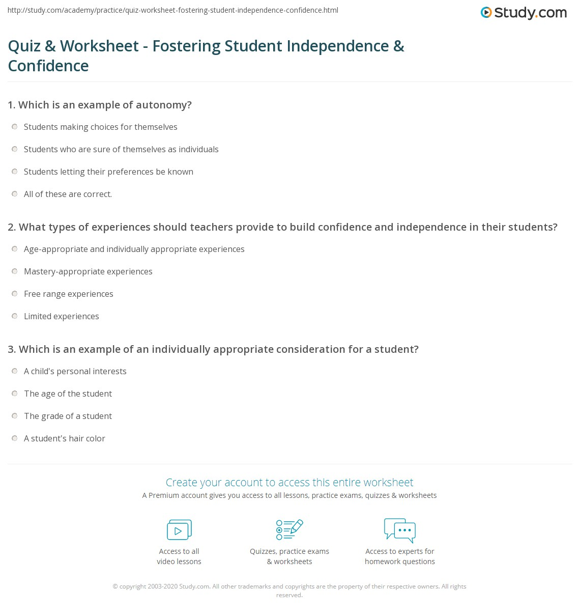 Free Worksheet Confidence Worksheets quiz worksheet fostering student independence confidence print promoting young students worksheet