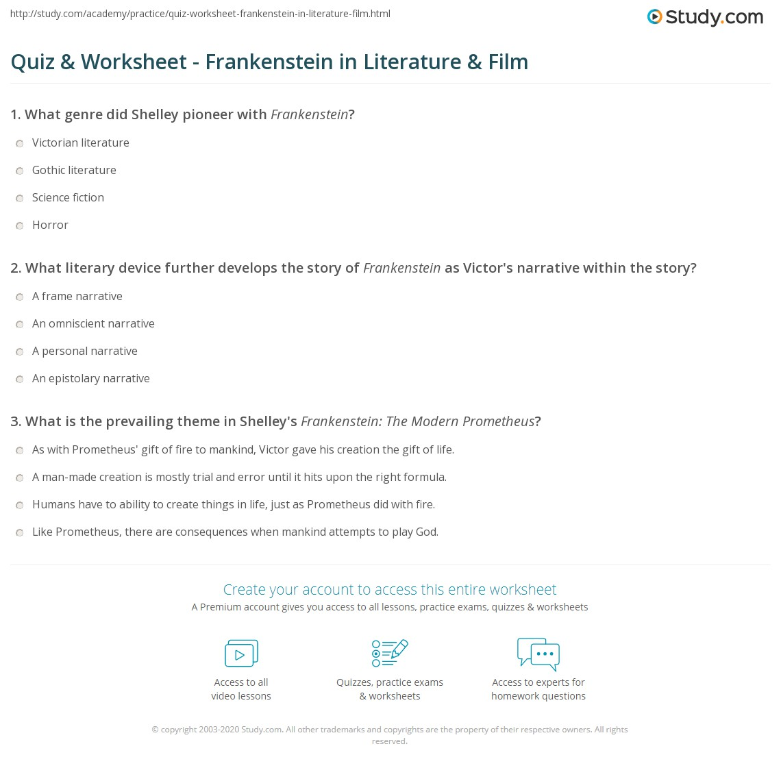 Printables Film Study Worksheet quiz worksheet frankenstein in literature film study com print mary shelleys vs worksheet