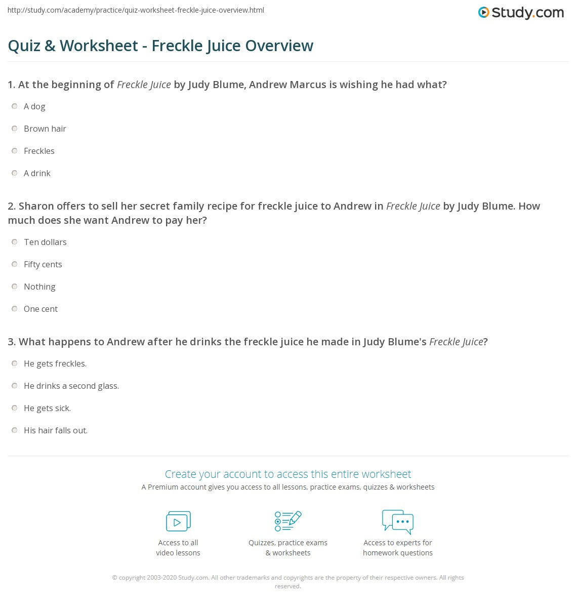 Worksheet Freckle Juice Worksheets quiz worksheet freckle juice overview study com print summary worksheet