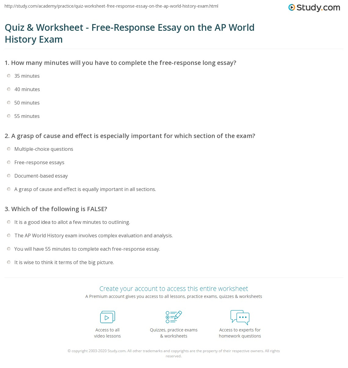 Quiz & Worksheet - Free-Response Essay on the AP World History ...