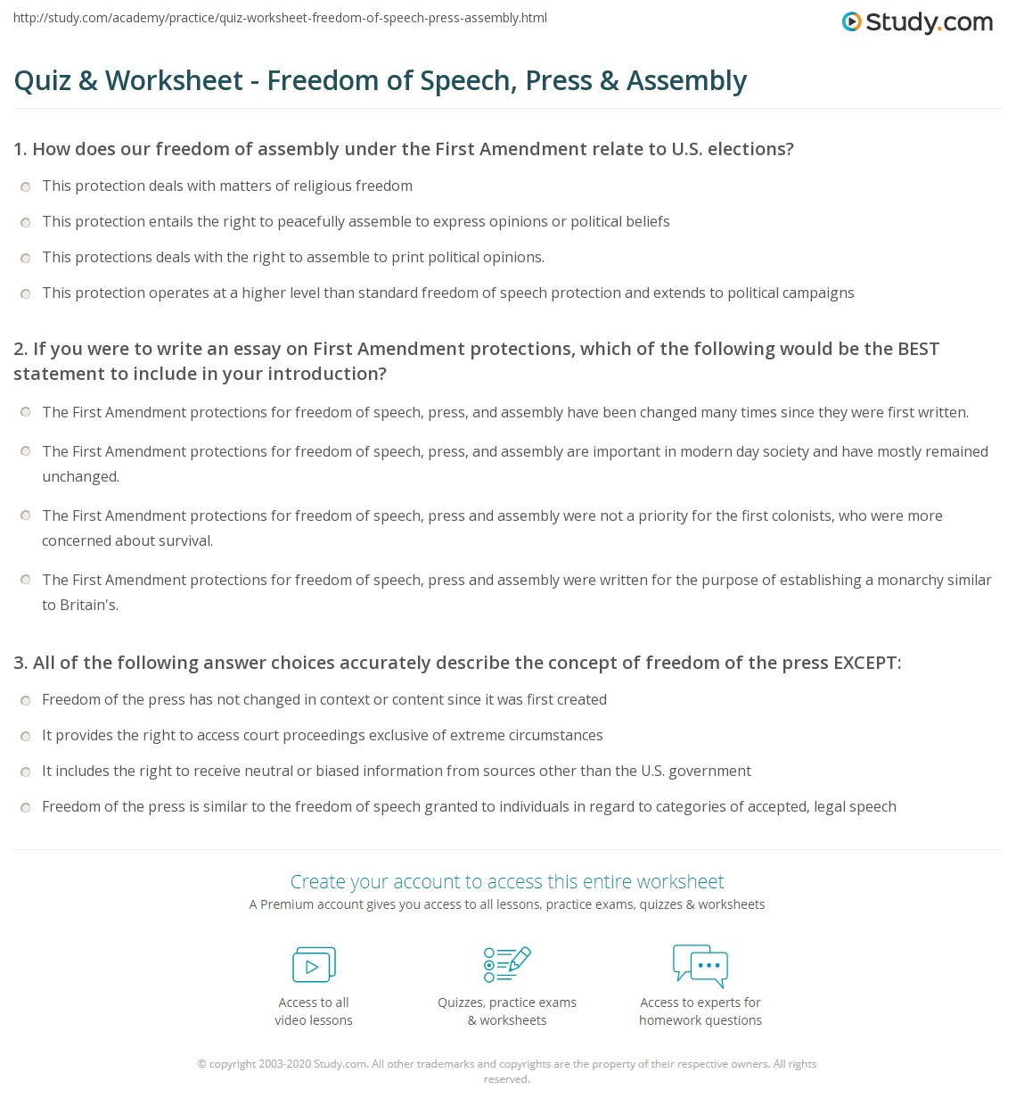 the first amendment essay does the first amendment protect medical  quiz worksheet dom of speech press assembly com if you were to write an essay on islam and the first amendment