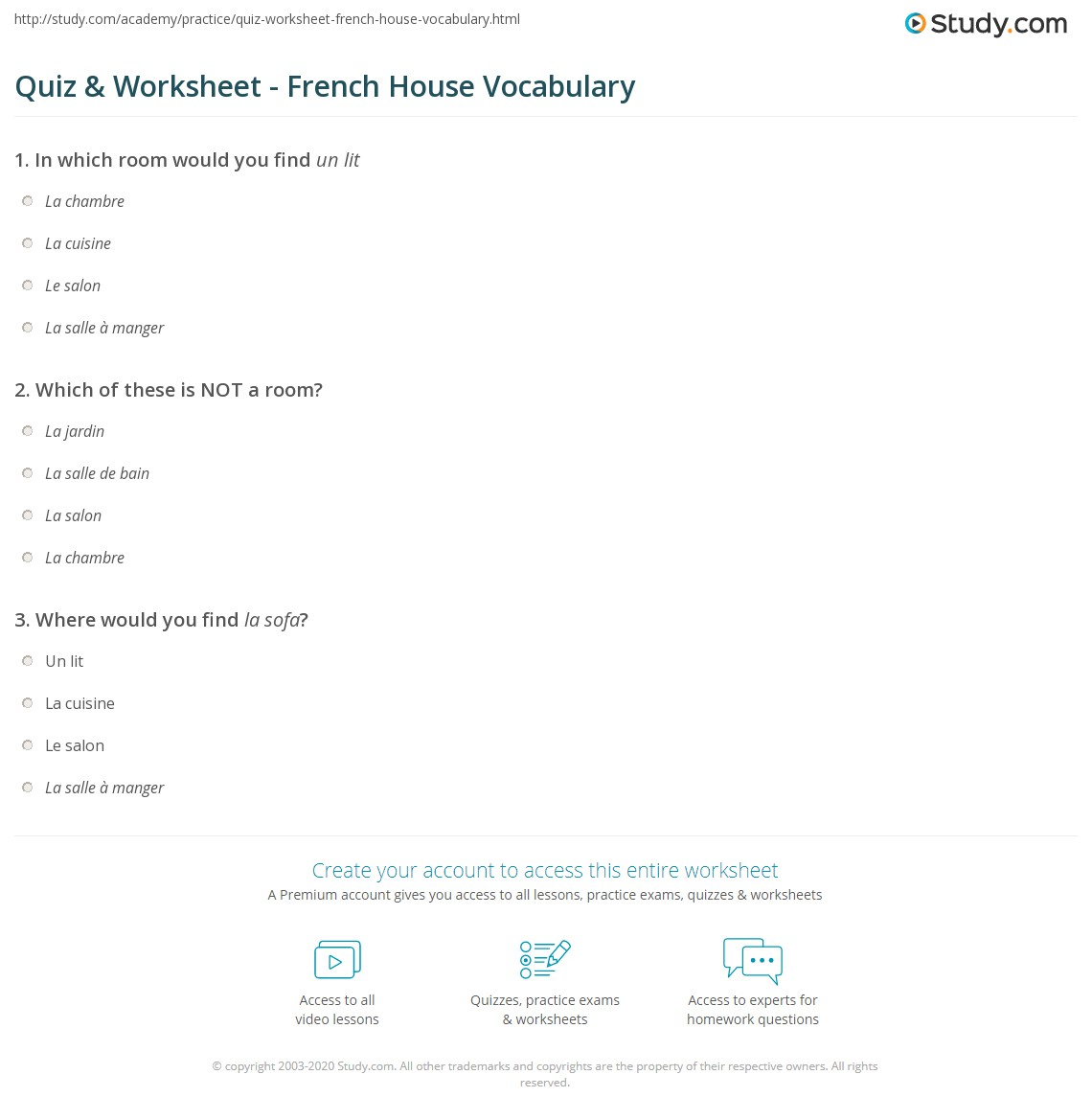 quiz worksheet french house vocabulary. Black Bedroom Furniture Sets. Home Design Ideas