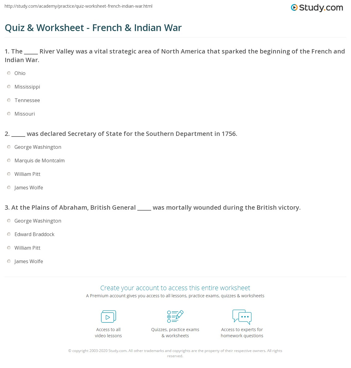 Quiz & Worksheet - French & Indian War | Study.com