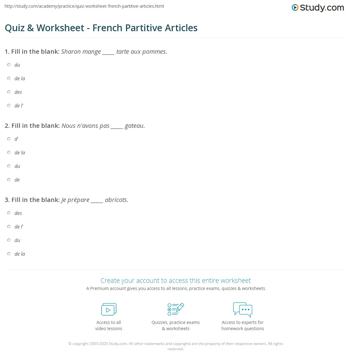 Quiz Worksheet French Partitive Articles – Articles a an the Worksheets