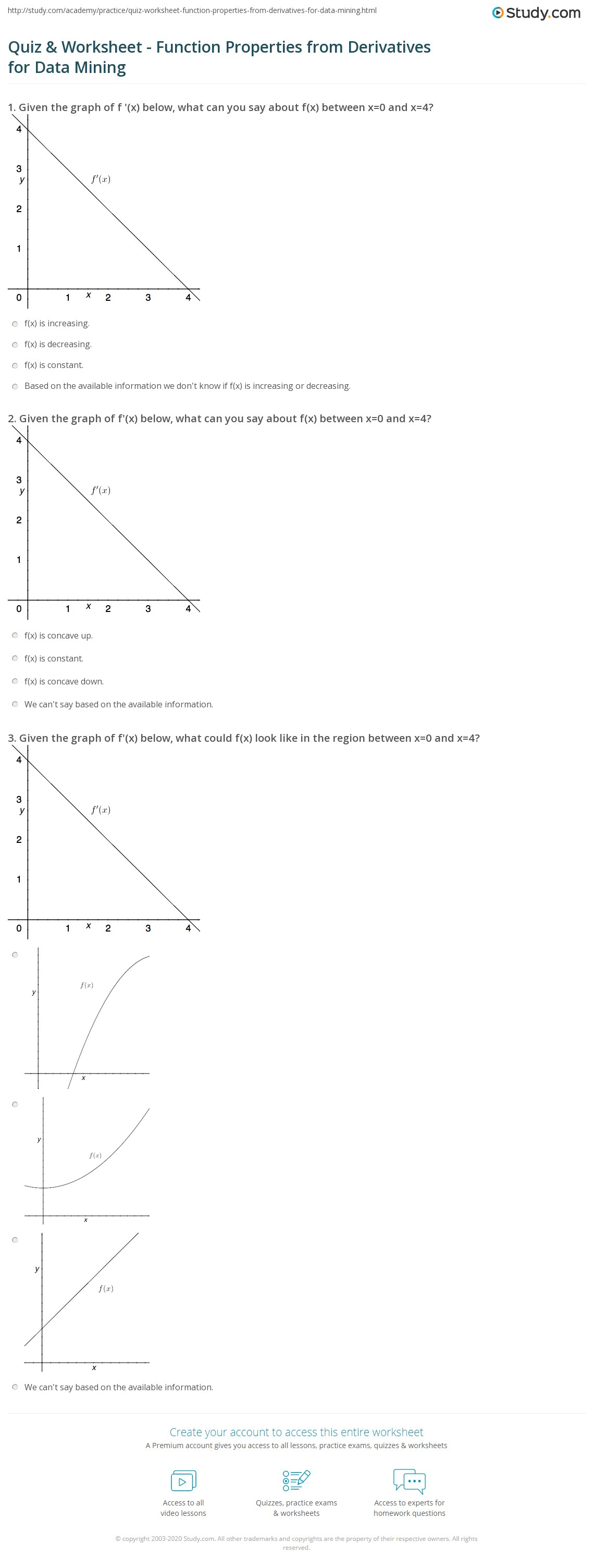 worksheet Worksheet Function quiz worksheet function properties from derivatives for data print mining worksheet