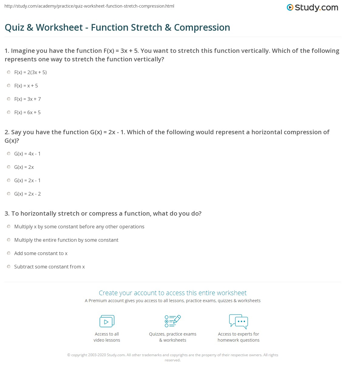 Quiz Worksheet Function Stretch Compression – Function Notation Worksheets