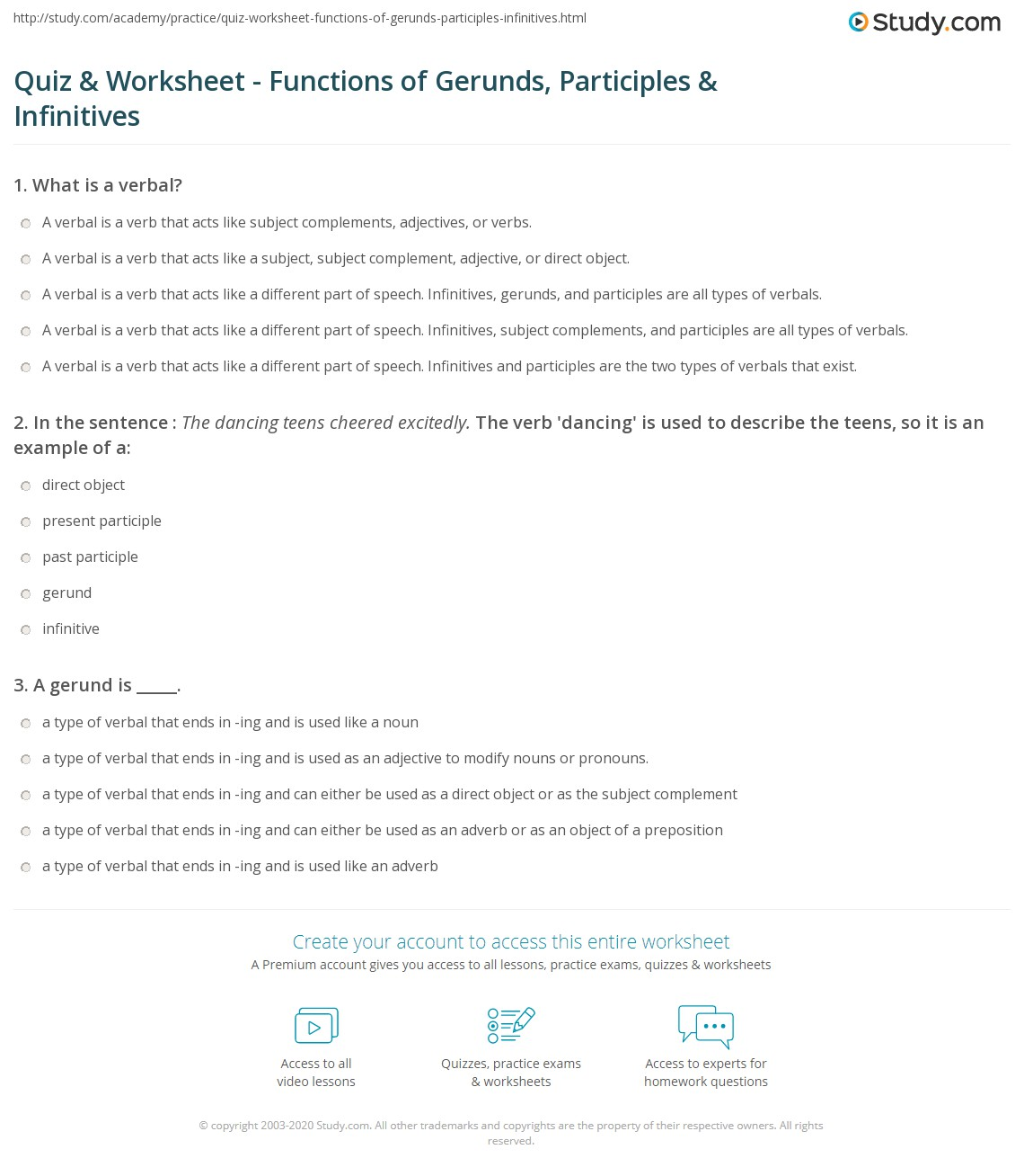 Quiz Worksheet Functions of Gerunds Participles Infinitives – Participle Worksheets