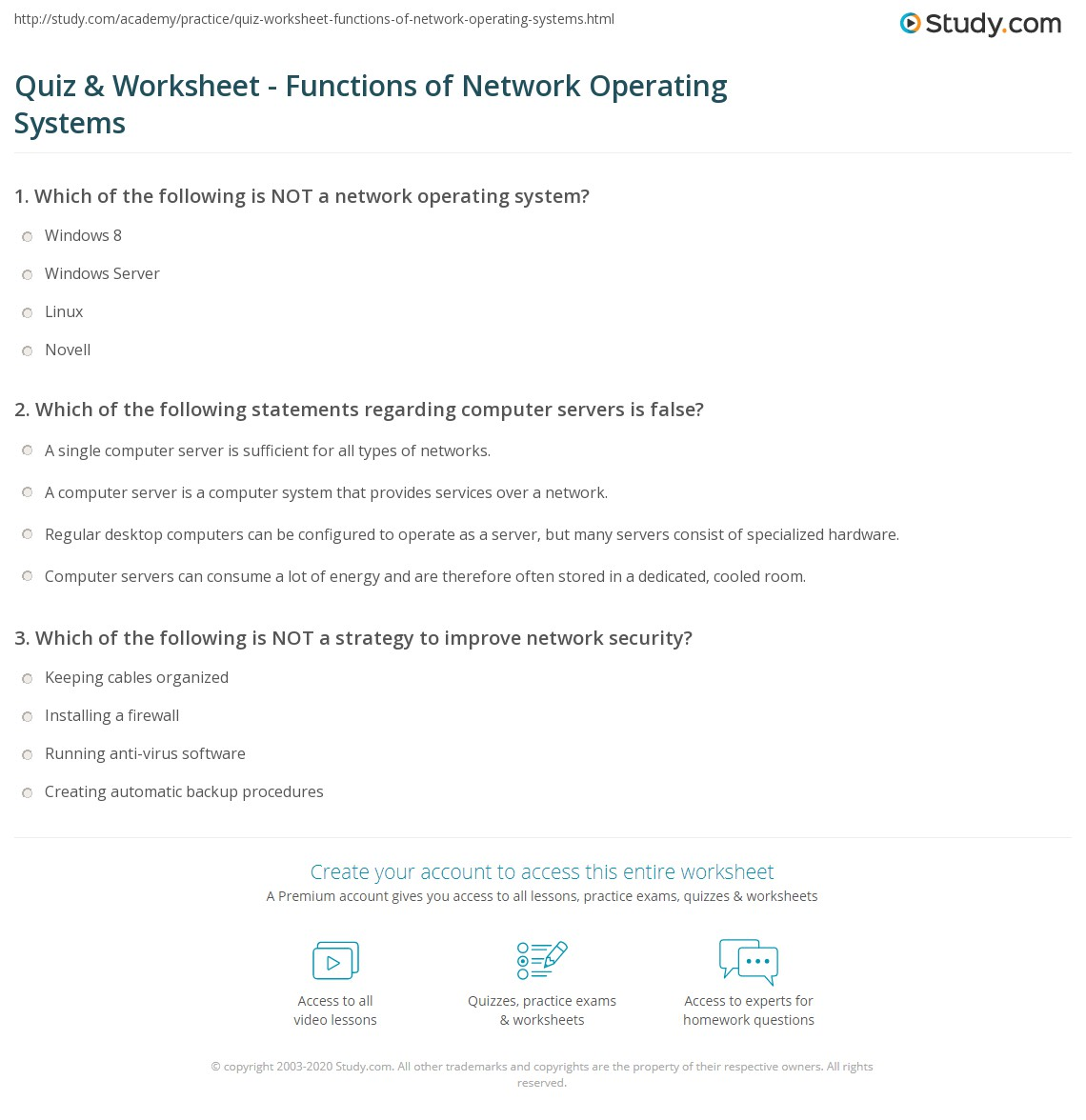 Quiz & Worksheet - Functions of Network Operating Systems | Study.com