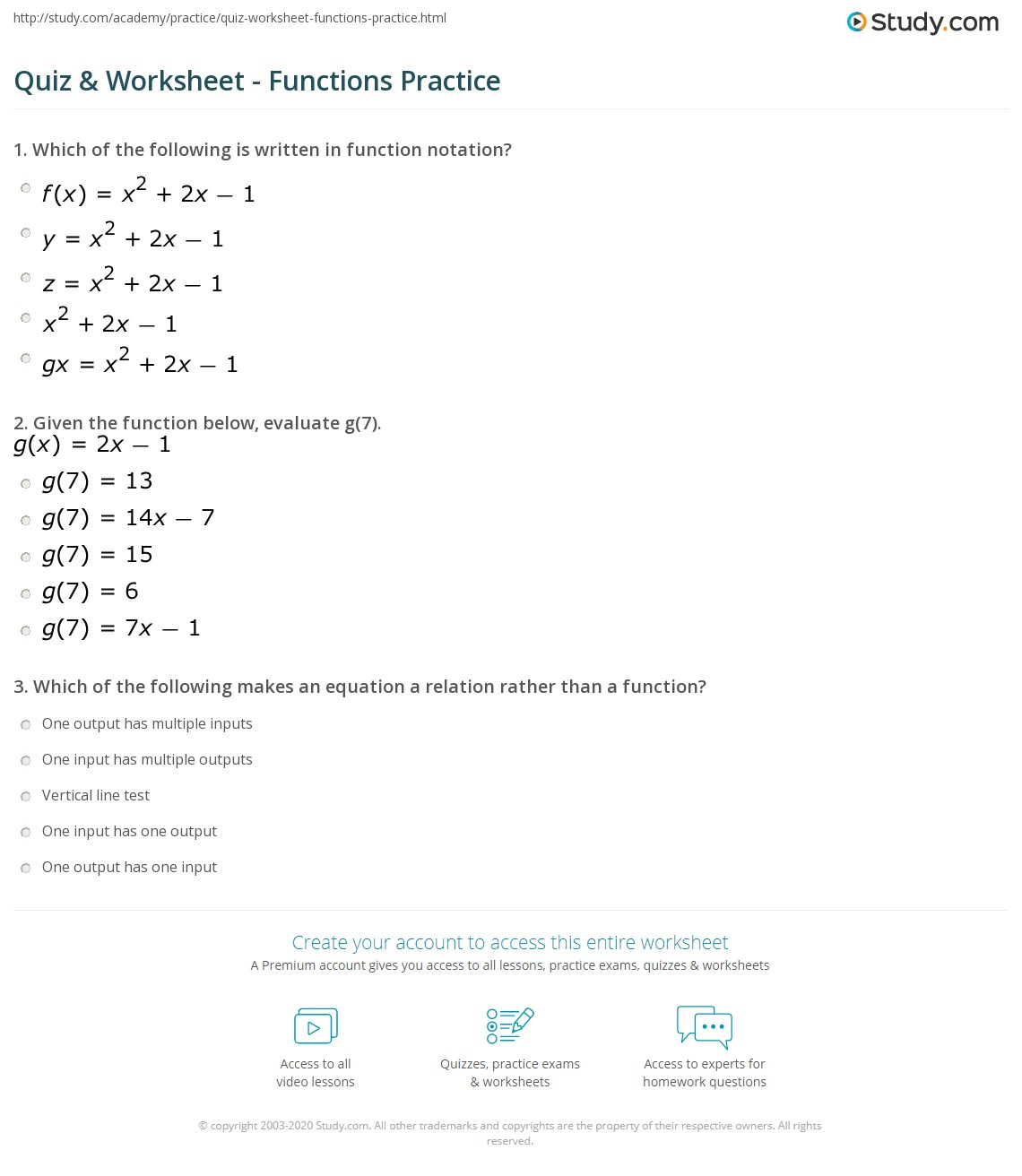 Functions: Identification, Notation & Practice Problems