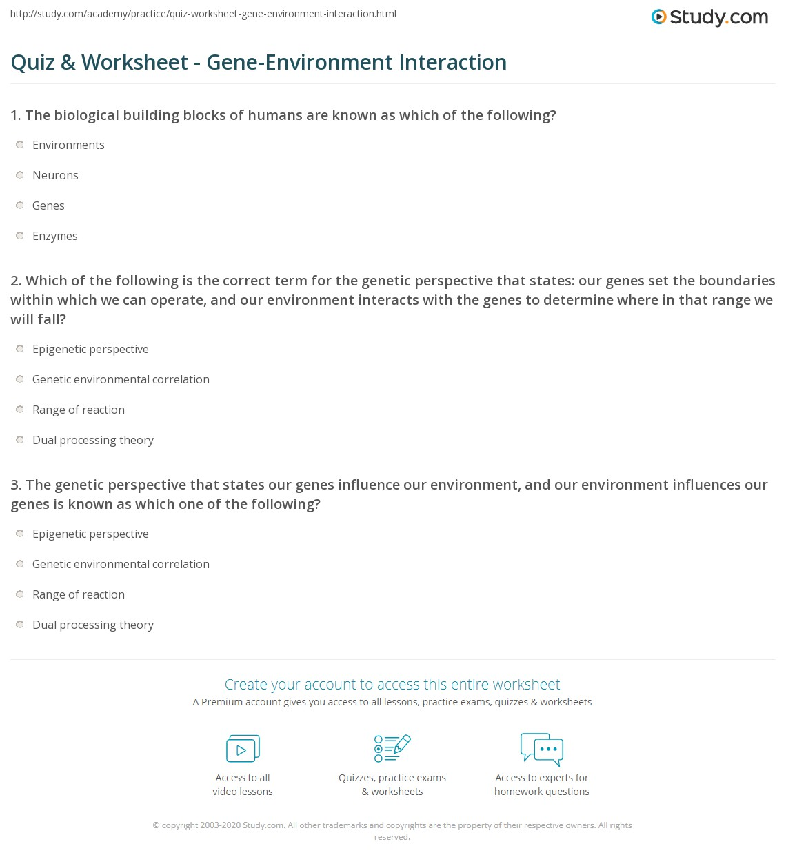 Quiz & Worksheet - Gene-Environment Interaction | Study.com