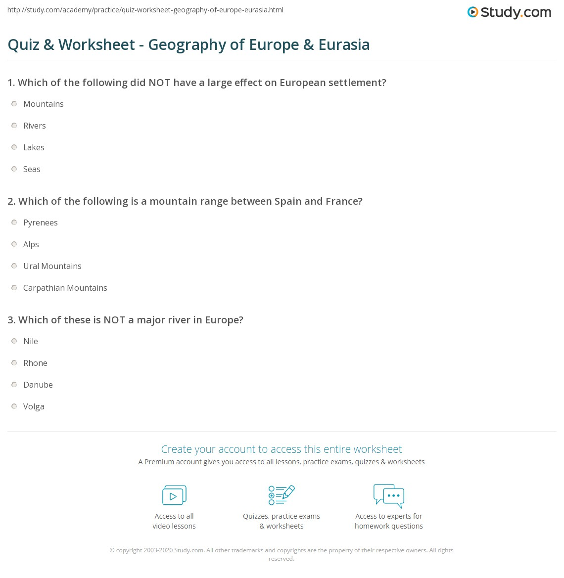 Printables Europe Geography Worksheets quiz worksheet geography of europe eurasia study com print the land mass worksheet