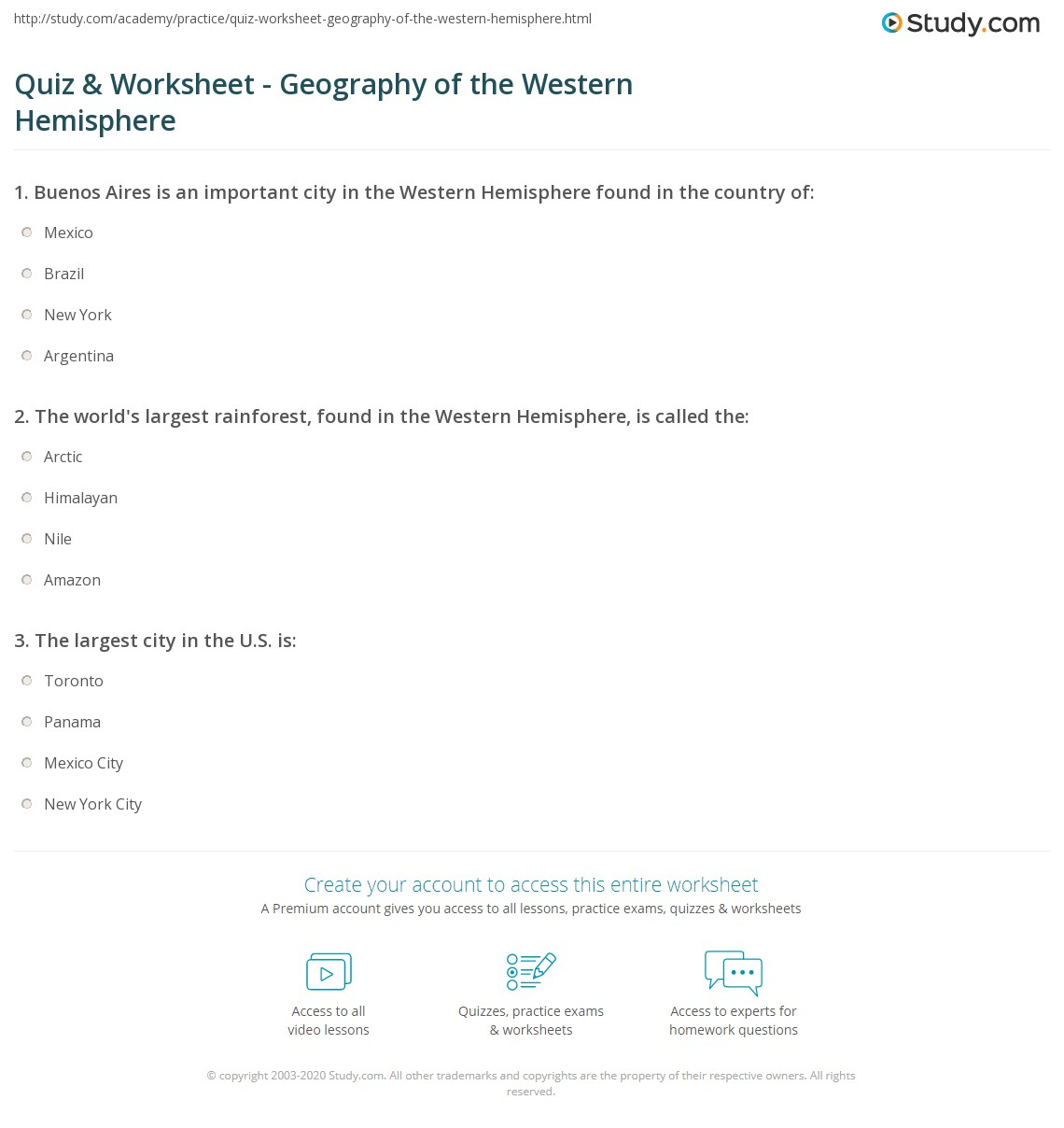 Printables Hemisphere Worksheet quiz worksheet geography of the western hemisphere study com print major countries cities physical features worksheet