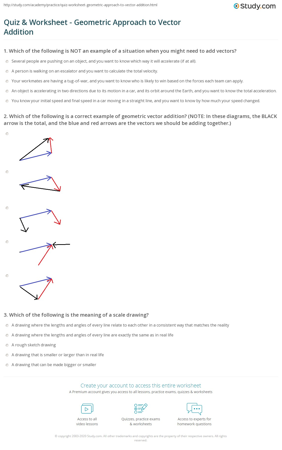 worksheet Vector Worksheet quiz worksheet geometric approach to vector addition study com which of the following is a correct example note in these diagrams black arrow tota