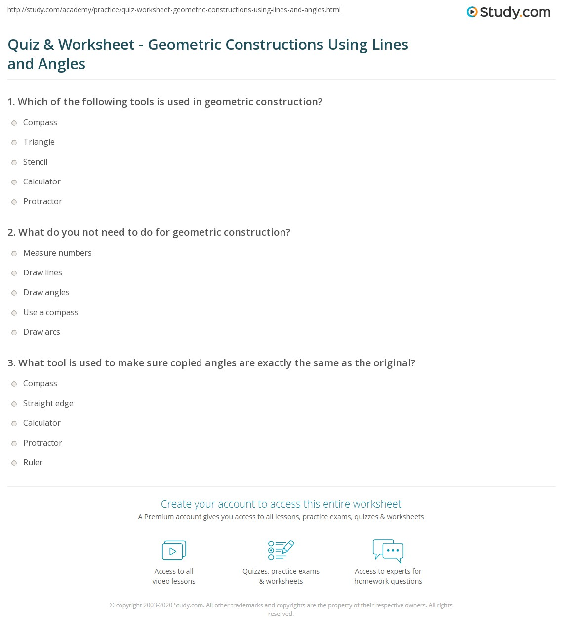 Worksheets Geometric Constructions Worksheet quiz worksheet geometric constructions using lines and angles print worksheet