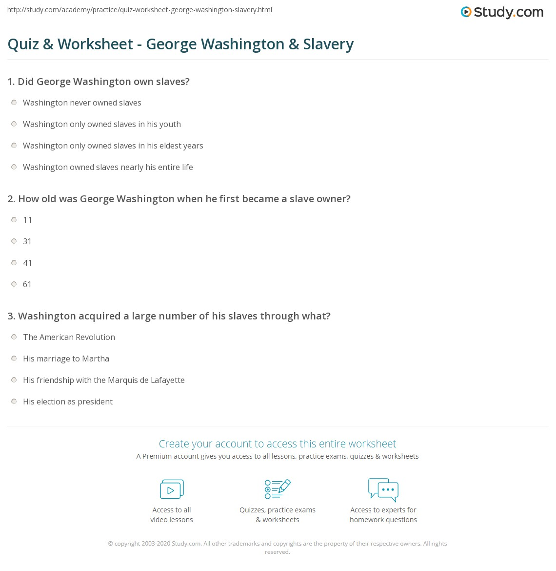 Quiz Worksheet George Washington Slavery – George Washington Worksheet