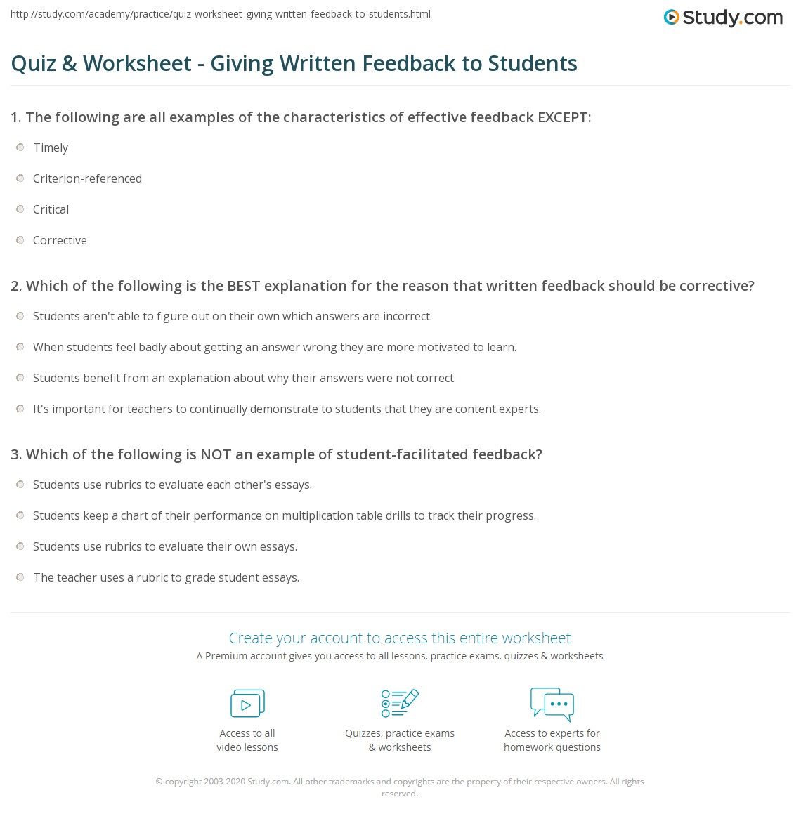 Worksheet Worksheet Examples For Students quiz worksheet giving written feedback to students study com print examples overview worksheet