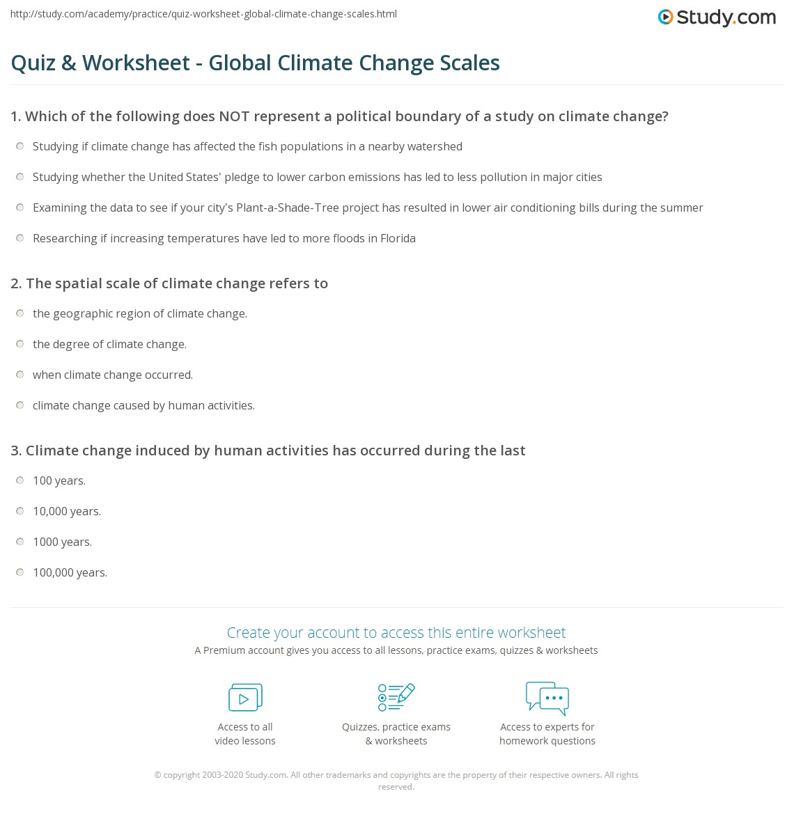 Uncategorized Climate Change Worksheet quiz worksheet global climate change scales study com print temporal spatial of worksheet