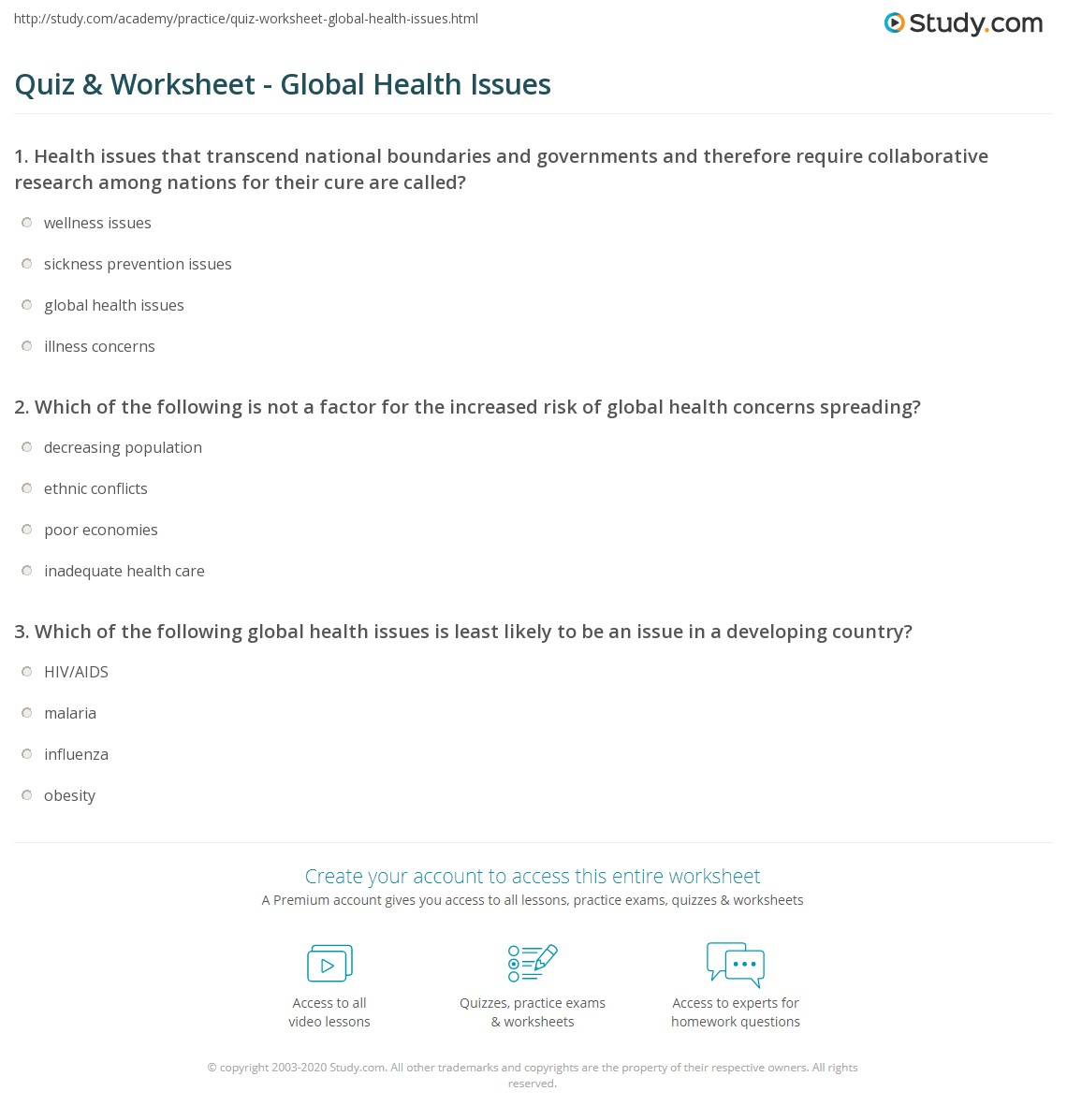 quiz worksheet global health issues com print types of global health issues worksheet