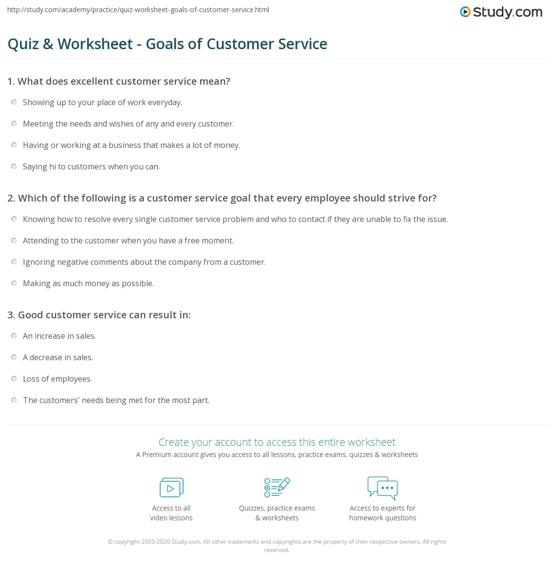 quiz worksheet goals of customer service com print what are customer service goals definition examples worksheet