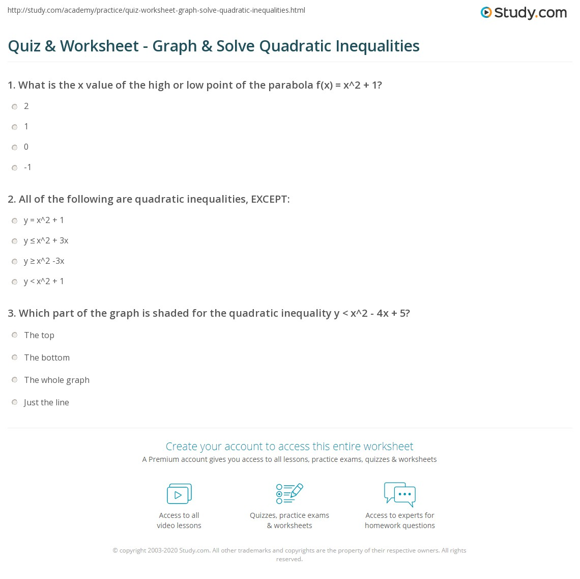 Quiz & Worksheet - Graph & Solve Quadratic Inequalities | Study.com