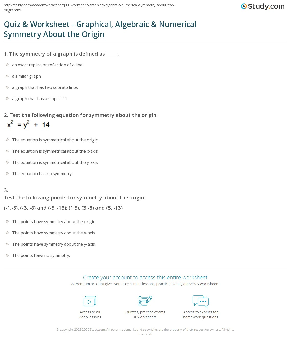 Quiz Worksheet Graphical Algebraic Numerical Symmetry About – Axis of Symmetry Worksheet