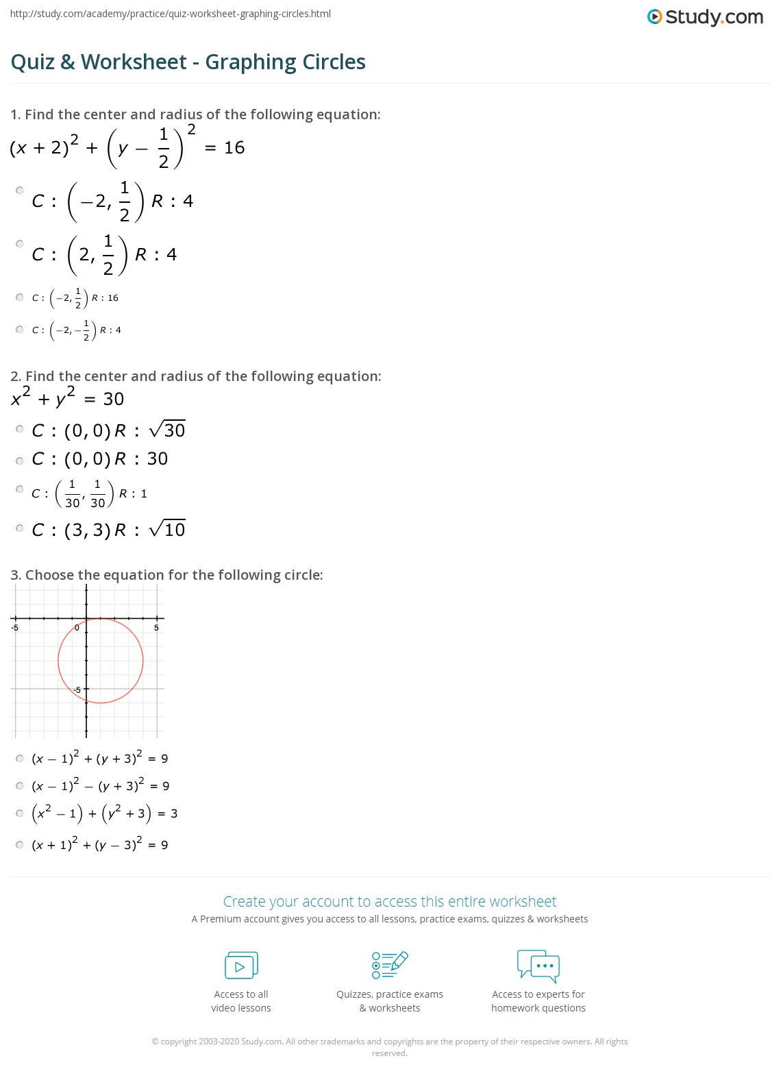 worksheet Writing Equations Of Circles printables graphing circles worksheet gozoneguide thousands of quiz study com print identifying the formula center and
