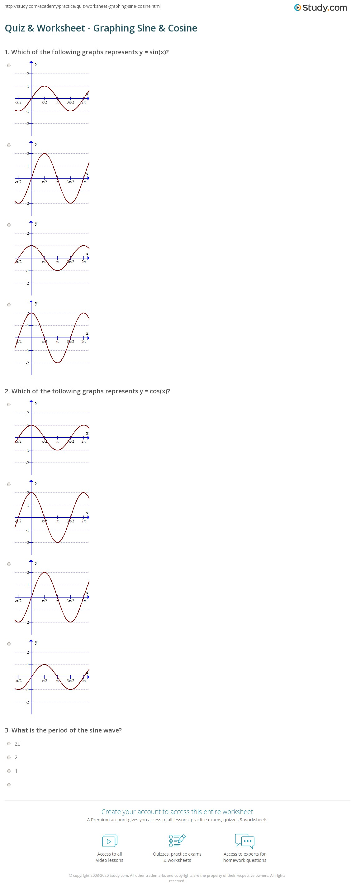 Quiz & Worksheet - Graphing Sine & Cosine | Study.com