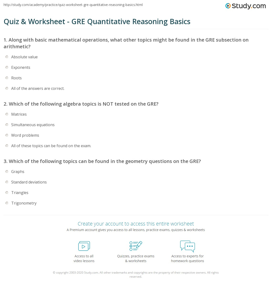 Uncategorized Gre Math Worksheets quiz worksheet gre quantitative reasoning basics study com print overview of the section worksheet