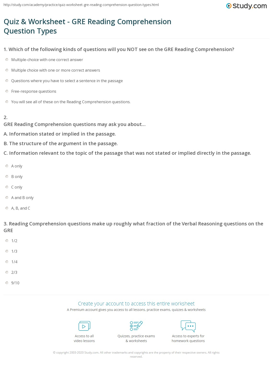 Quiz & Worksheet - GRE Reading Comprehension Question Types | Study ...