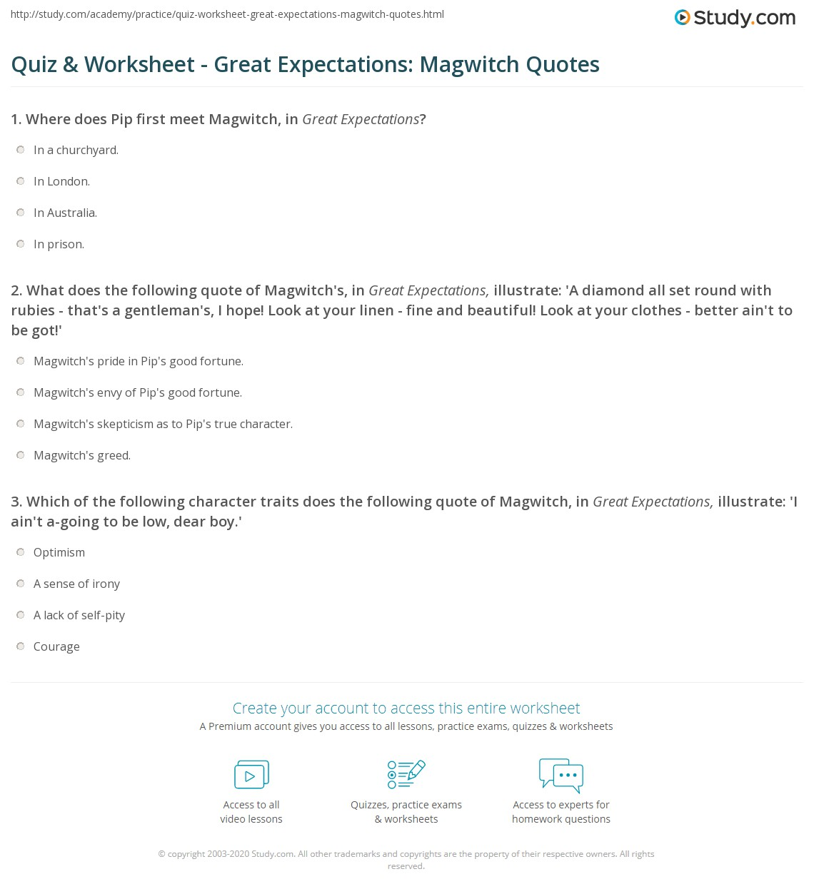 quiz worksheet great expectations magwitch quotes com what does the following quote of magwitch s in great expectations illustrate a diamond all set round rubies that s a gentleman s i hope