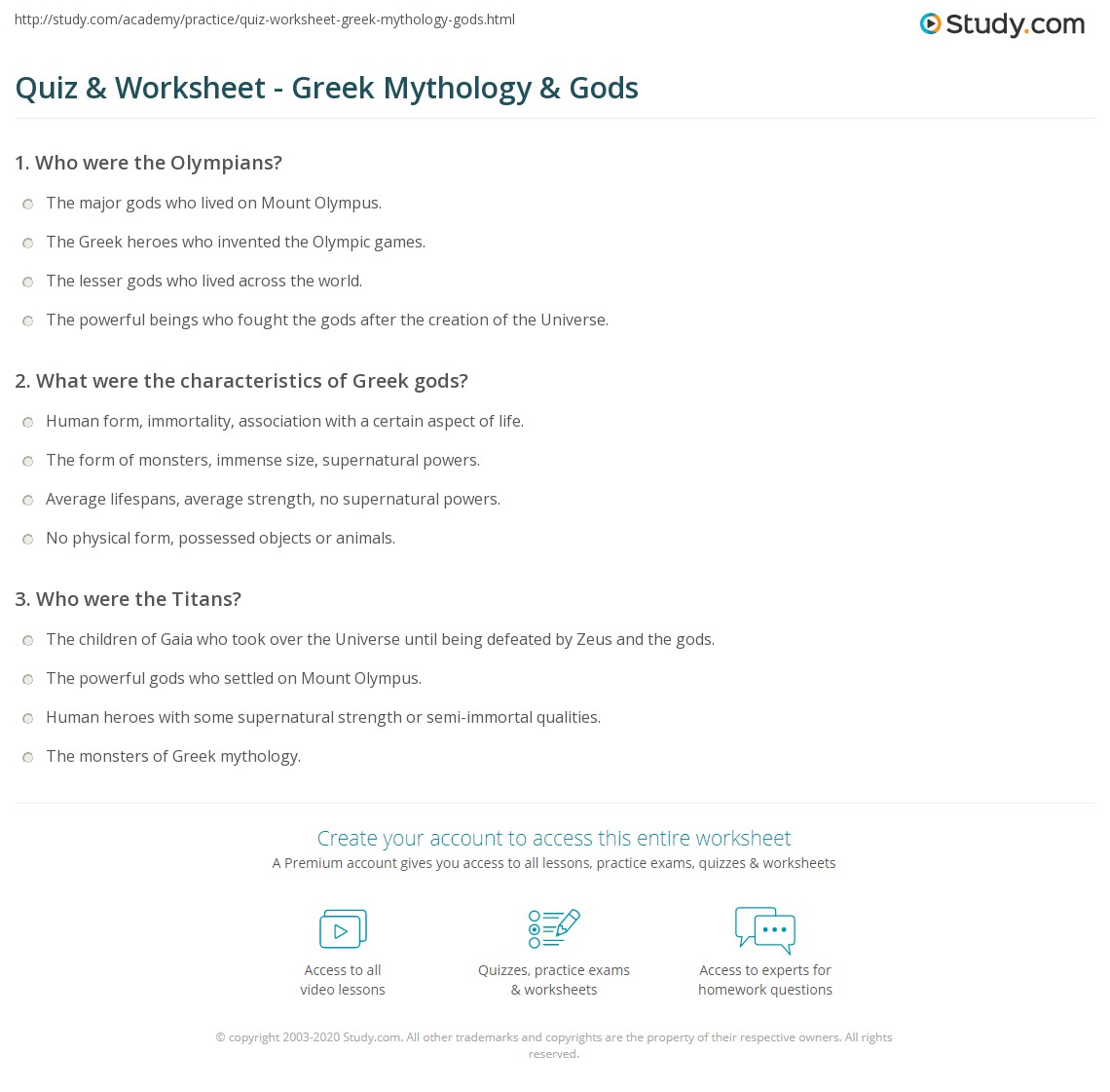 Quiz Worksheet Greek Mythology Gods – Greek Gods Worksheet
