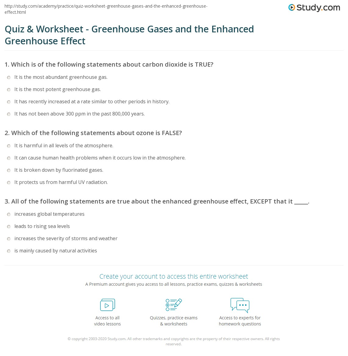 Worksheets Greenhouse Effect Worksheet quiz worksheet greenhouse gases and the enhanced print effect worksheet