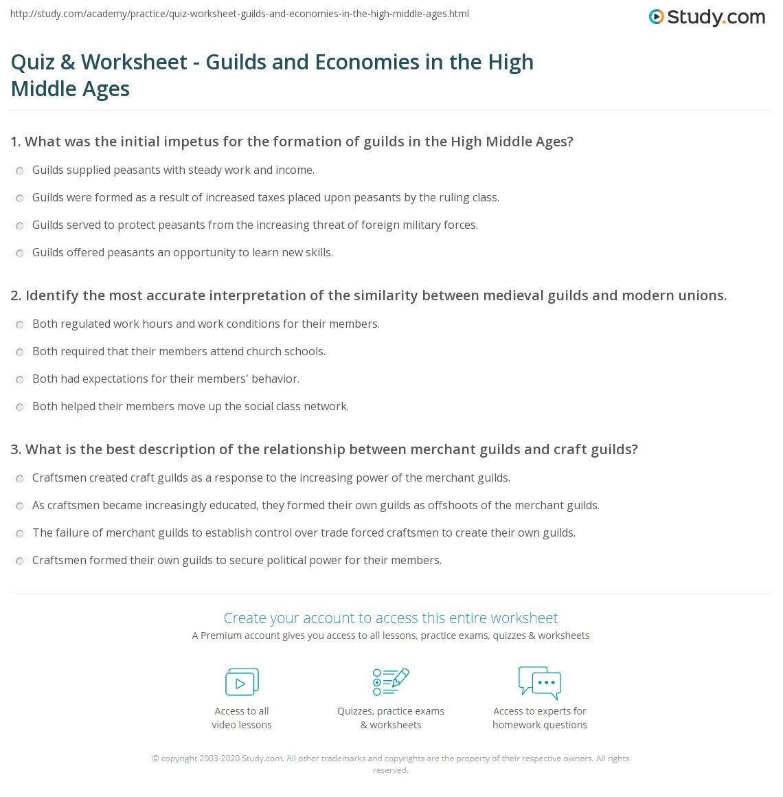 Quiz & Worksheet - Guilds and Economies in the High Middle Ages ...