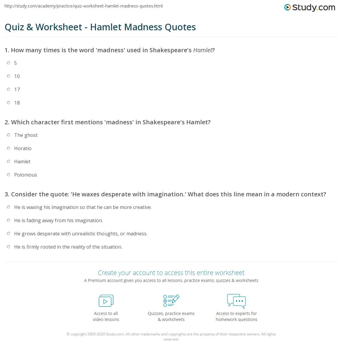 quiz worksheet hamlet madness quotes com print hamlet madness quotes worksheet