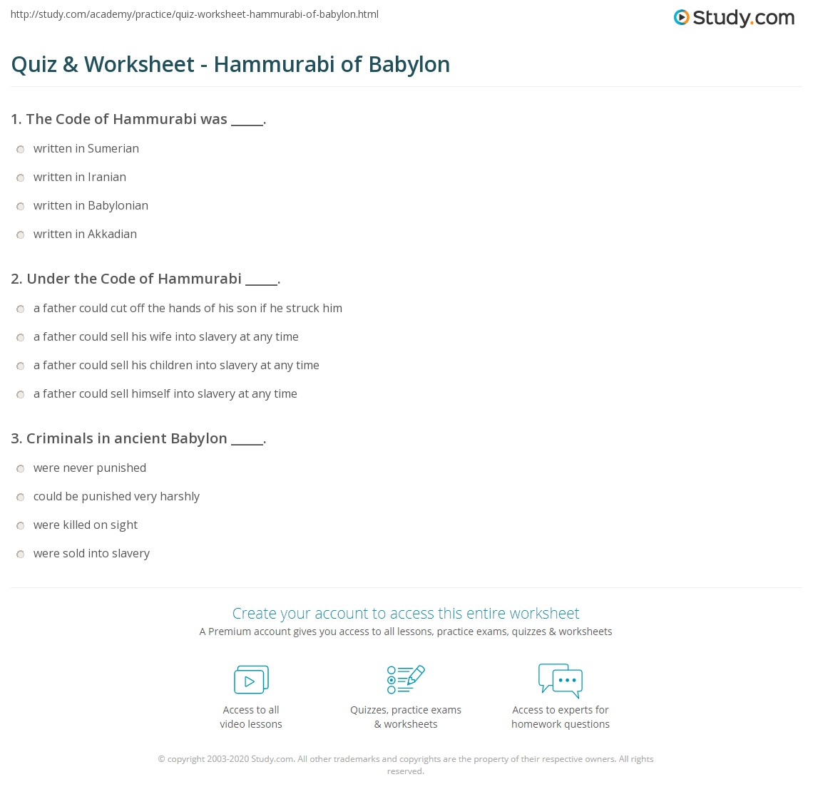 code of hammurabi worksheet rringband quiz worksheet hammurabi of babylon study com