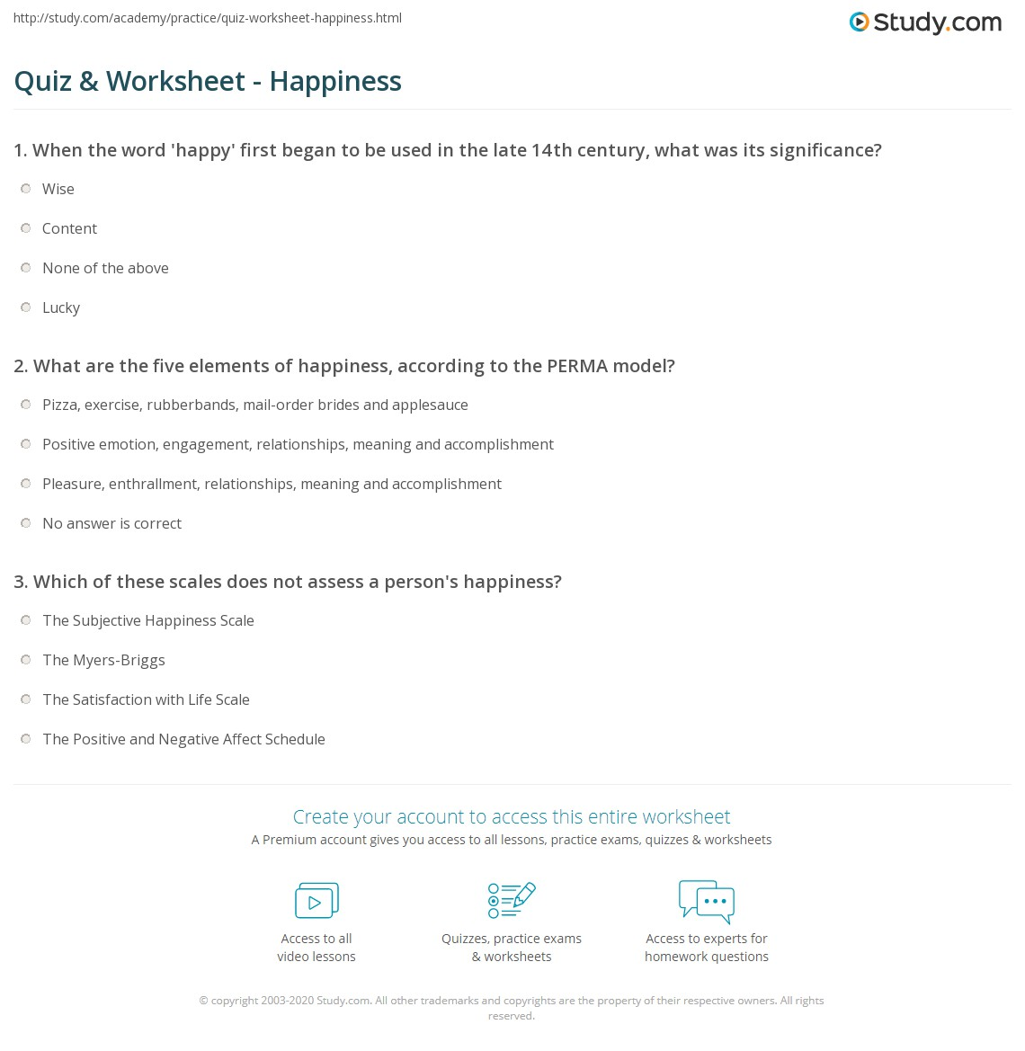 worksheet Happiness Worksheets quiz worksheet happiness study com print what is definition explanation worksheet