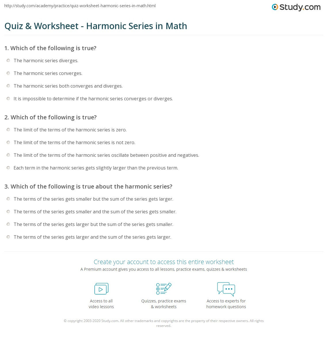 math worksheet : quiz  worksheet  harmonic series in math  study  : Math Sequencing Worksheets
