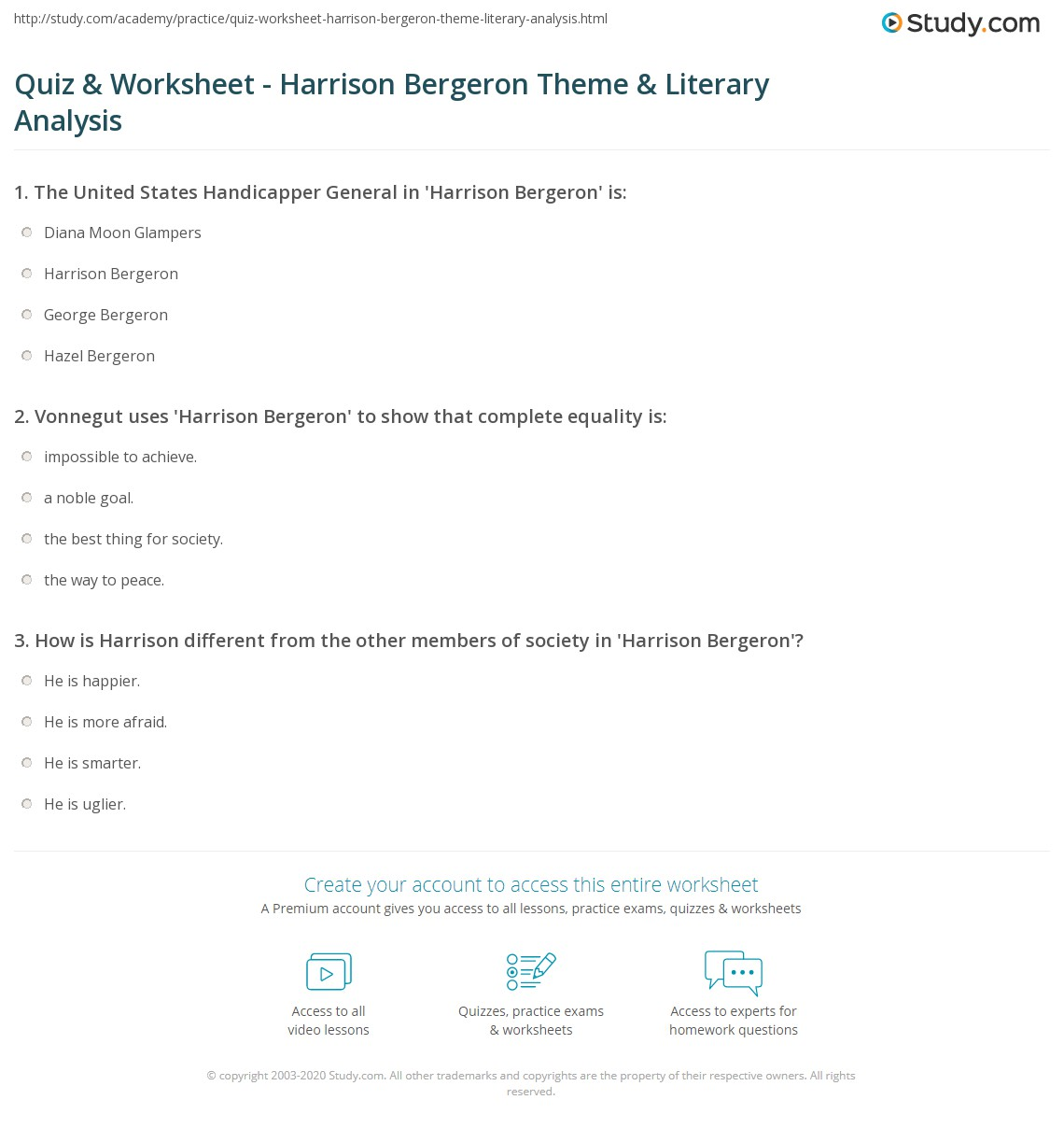 quiz worksheet harrison bergeron theme literary analysis print harrison bergeron theme literary analysis worksheet