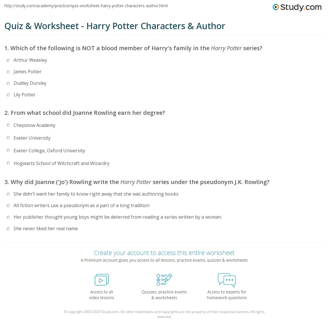 quiz worksheet harry potter characters author com print harry potter characters author facts worksheet