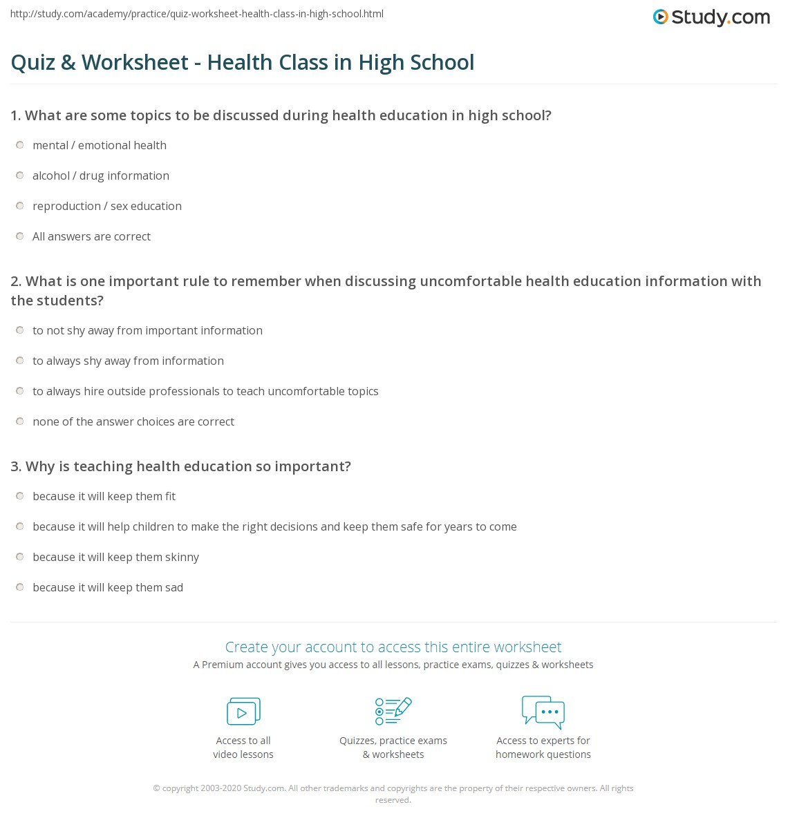 {Quiz Worksheet Health Class in High School – High School Health Worksheets