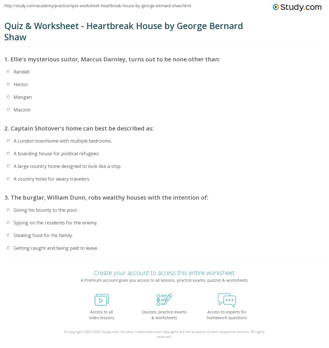 quiz worksheet heartbreak house by george bernard shaw com print heartbreak house by george bernard shaw summary analysis characters worksheet