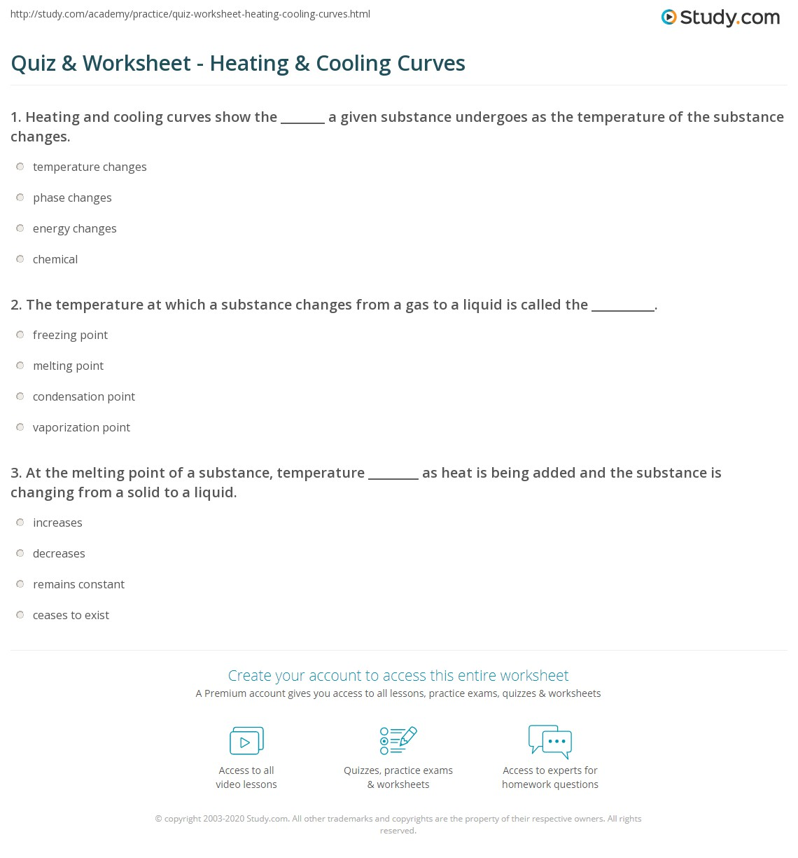 Quiz & Worksheet - Heating & Cooling Curves | Study.com