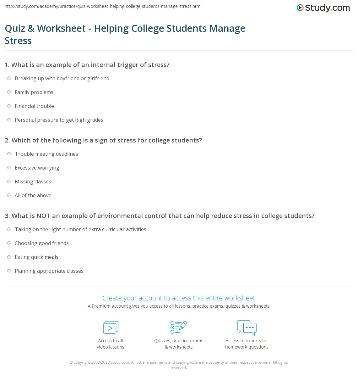 Quiz Worksheet Helping College Students Manage Stress – Stress Worksheet