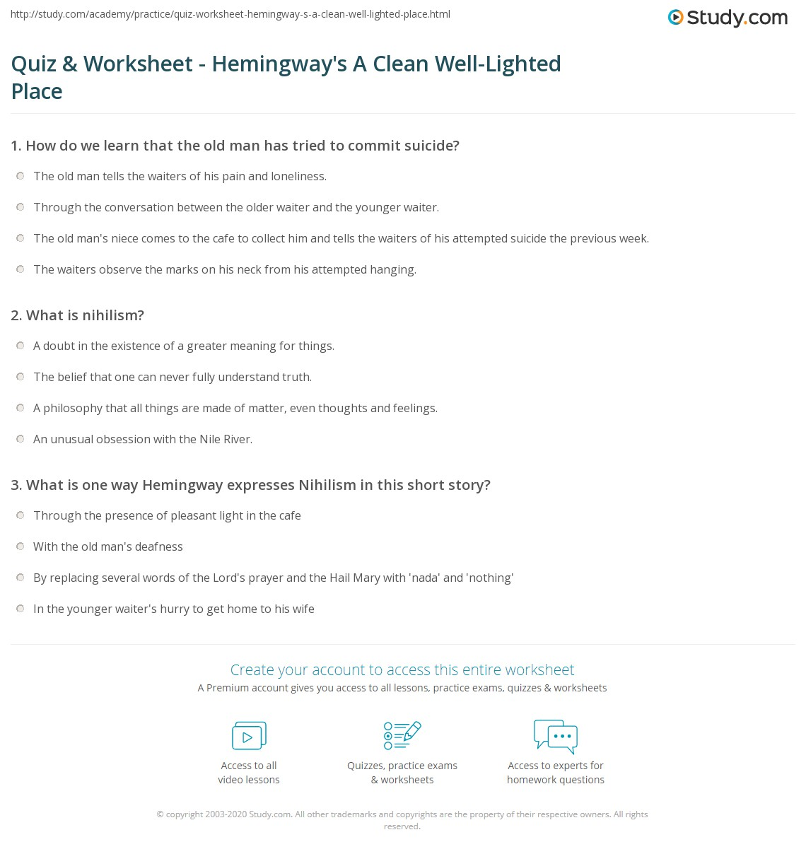 Quiz & Worksheet - Hemingway's A Clean Well-Lighted Place  Study.com math worksheets, worksheets, printable worksheets, multiplication, and learning Nile River Worksheets 1451 x 1140