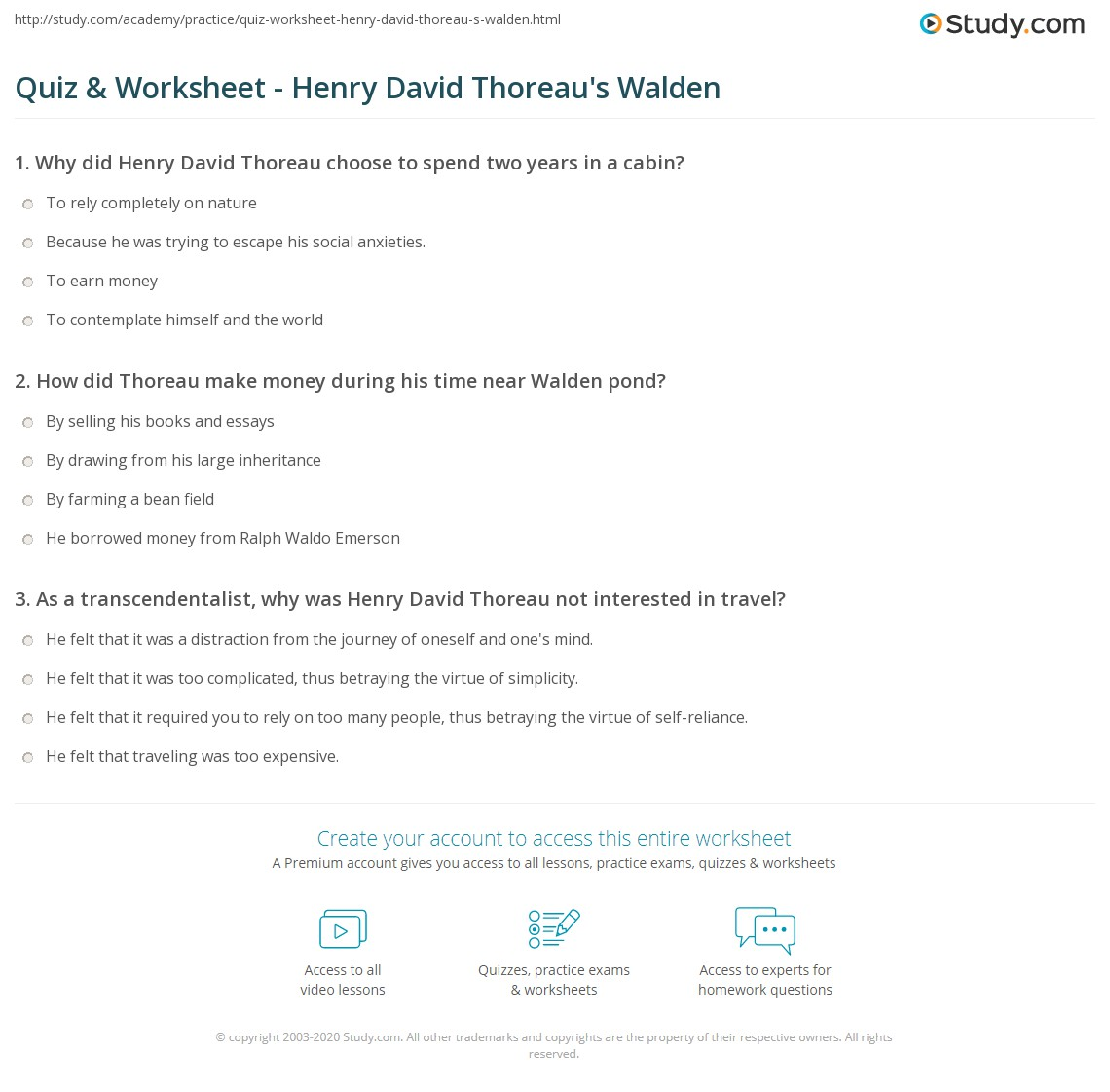 quiz worksheet henry david thoreau s walden com print henry david thoreau s walden summary and analysis worksheet