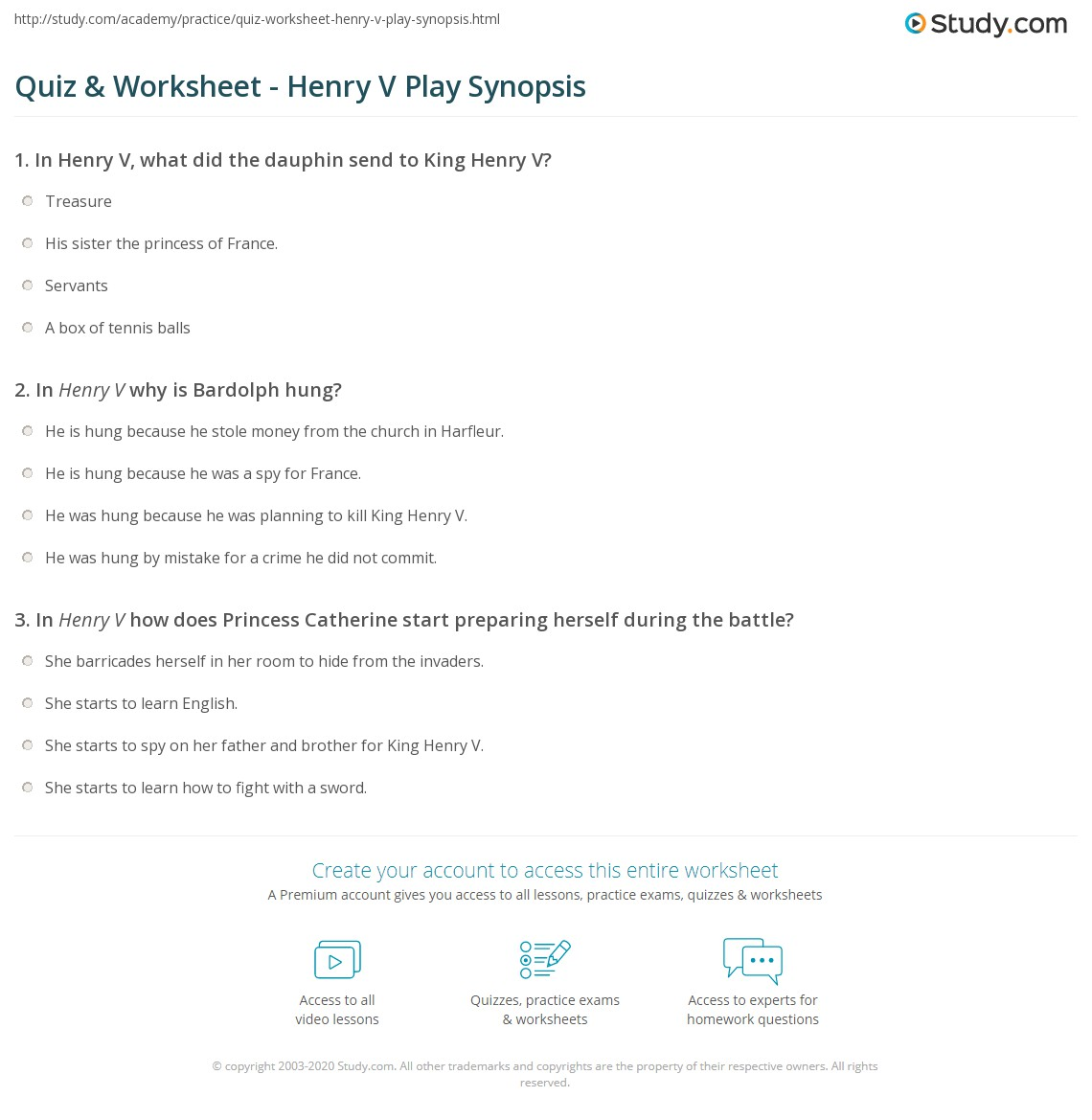 quiz worksheet henry v play synopsis com print henry v play summary speech worksheet