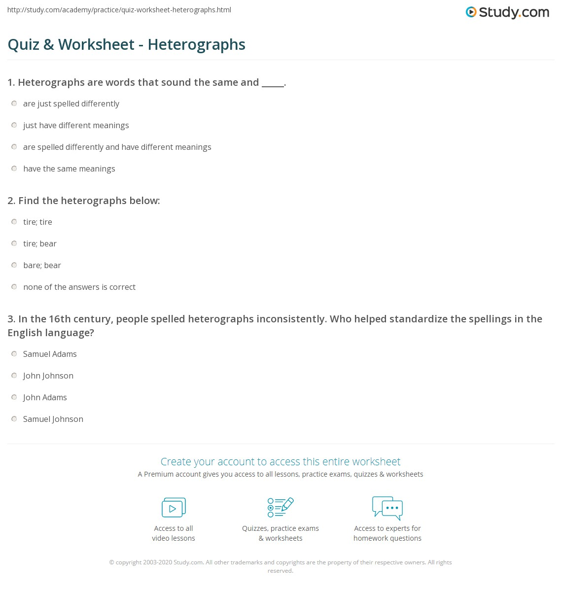 quiz worksheet heterographs com print heterographs definition examples worksheet